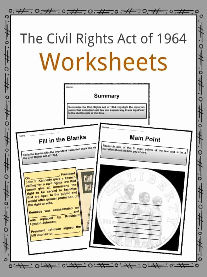 Civil Rights Worksheets Middle School Kids the Civil Rights Act Of 1964 Facts & Worksheets for Kids