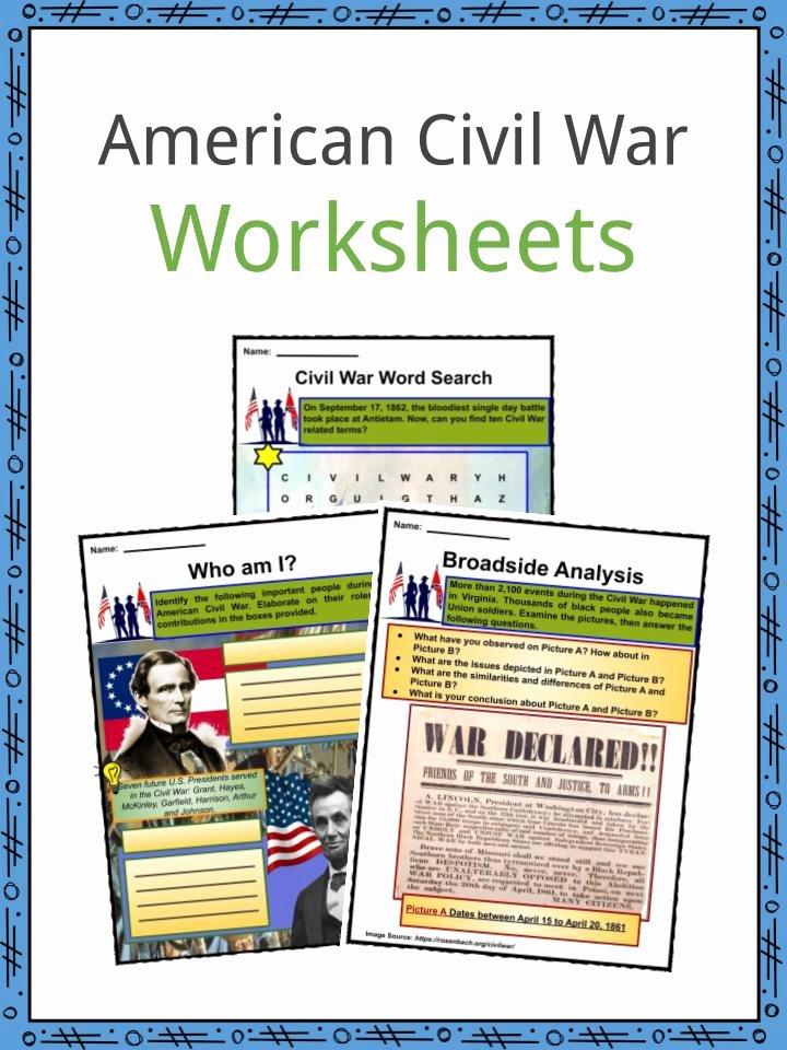 Civil War Worksheets 5th Grade Free American Civil War Facts Worksheets History & Impact