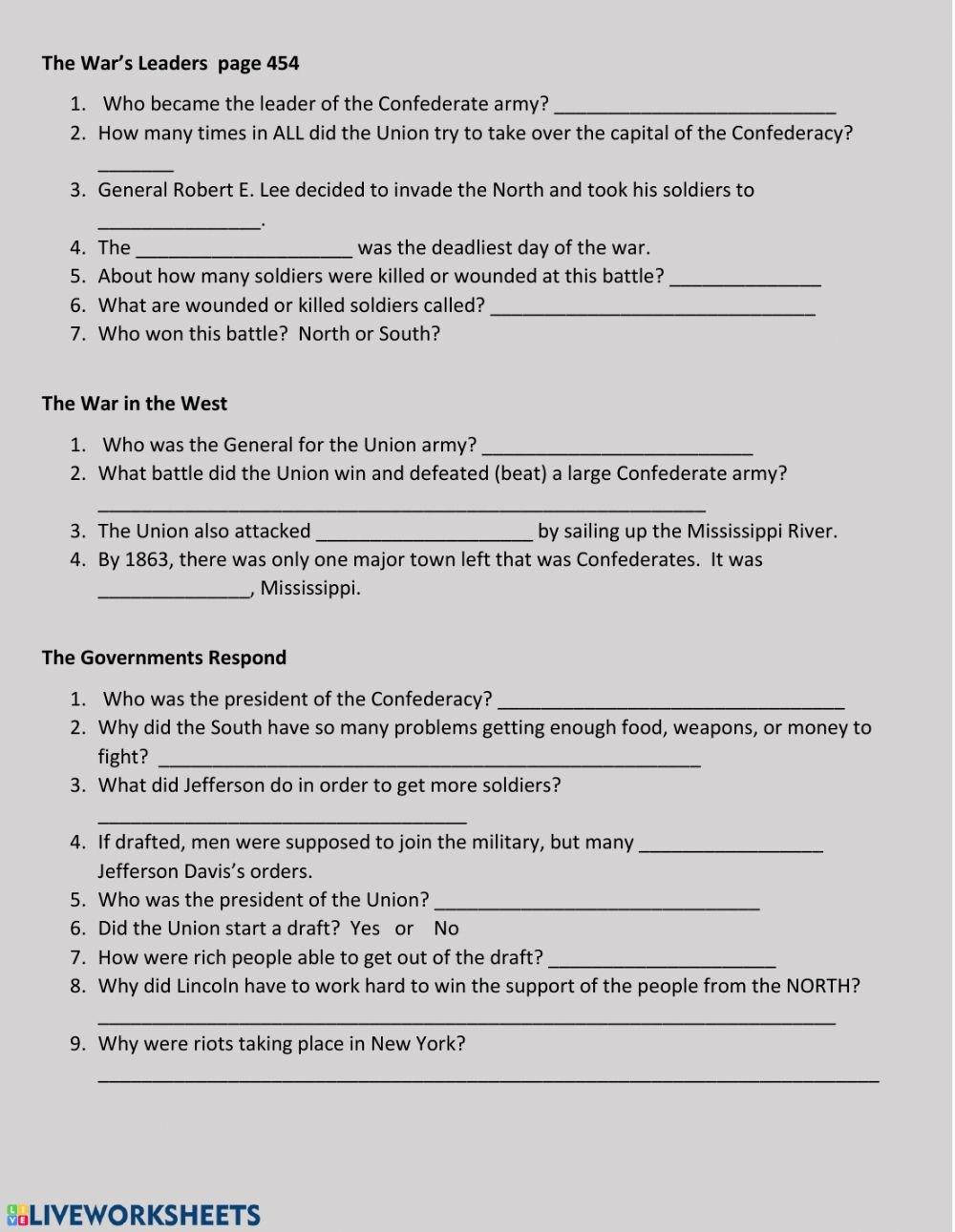 Civil War Worksheets 5th Grade Inspirational the War S Leaders Interactive Worksheet