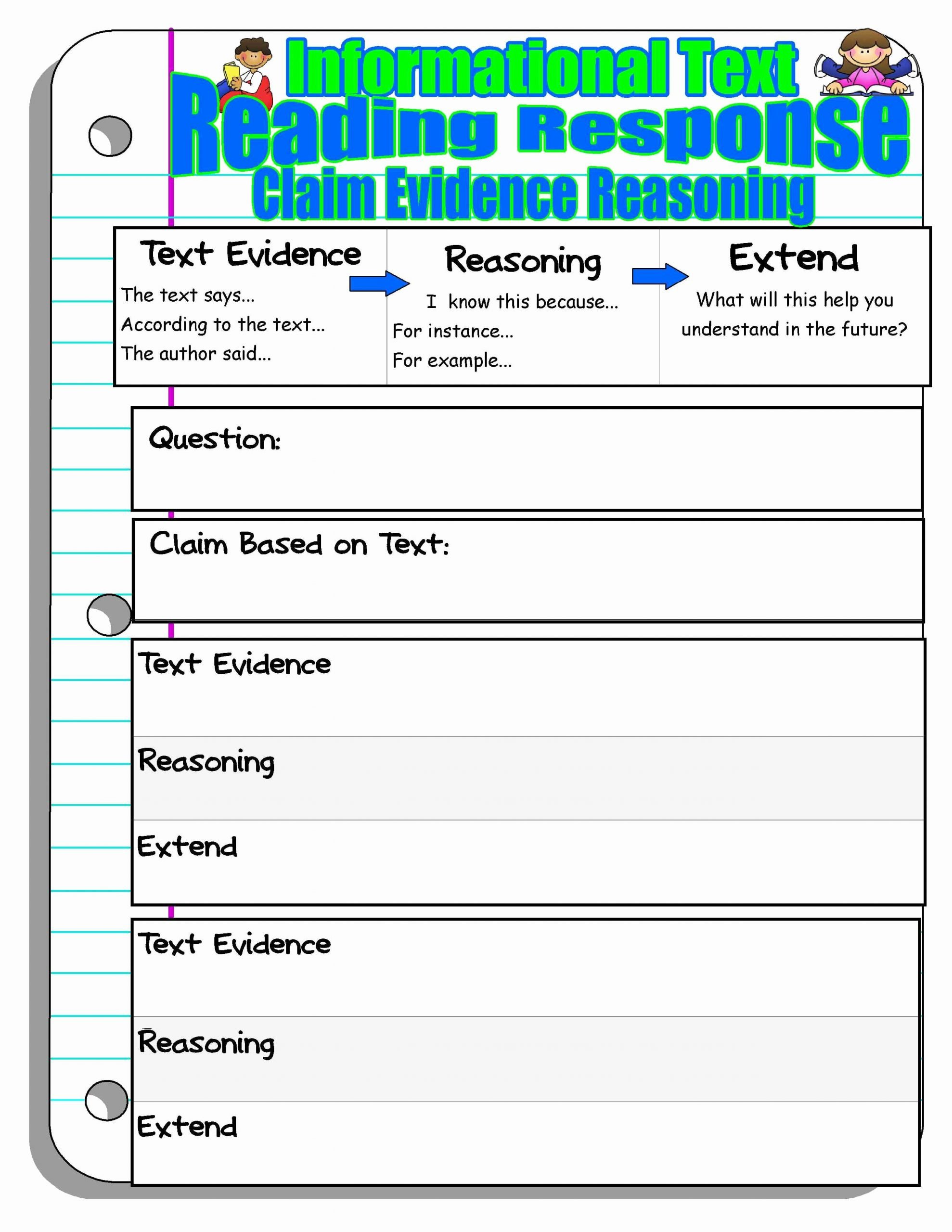 Claim Evidence Reasoning Science Worksheet Ideas Claim Evidence Reasoning Reading Response