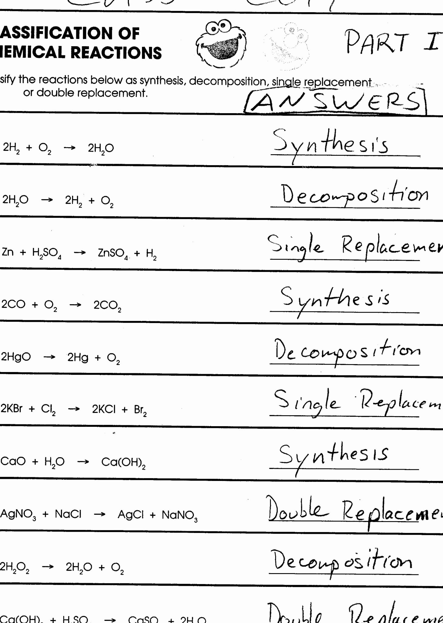 Classification Of Chemical Reactions Worksheet Lovely 33 Classification Chemical Reactions Worksheet Answers