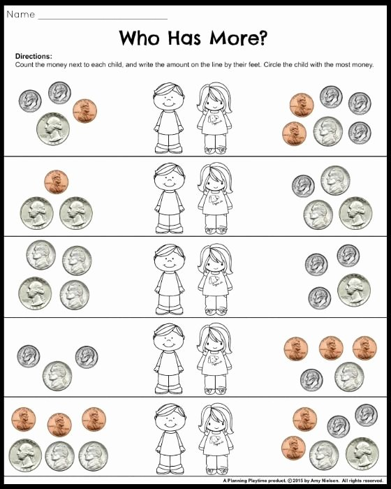 Coin Worksheets for 2nd Grade Kids Money Worksheets for 2nd Grade who Earned More