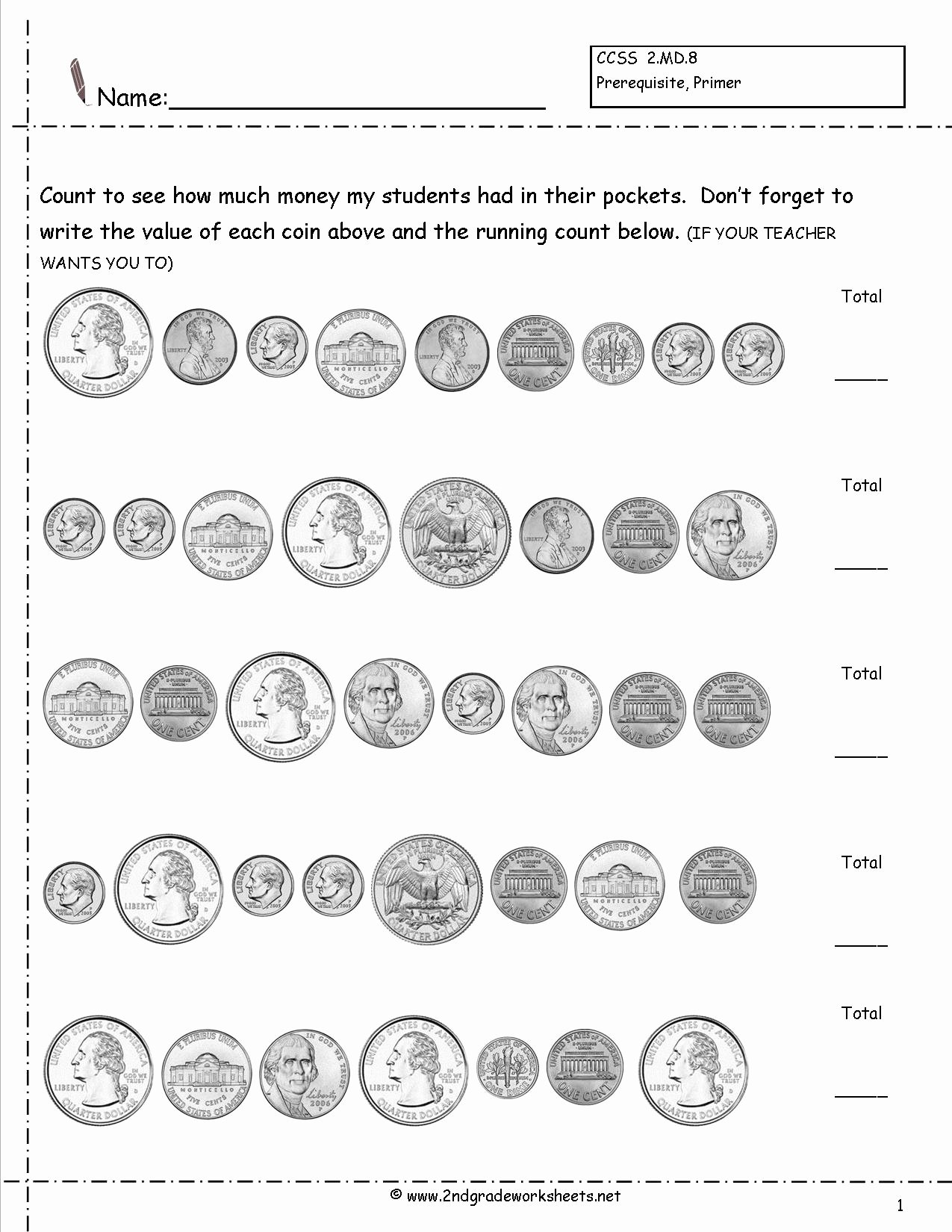 Coin Worksheets for 2nd Grade Printable Counting Coins and Money Worksheets Printouts Sets Free