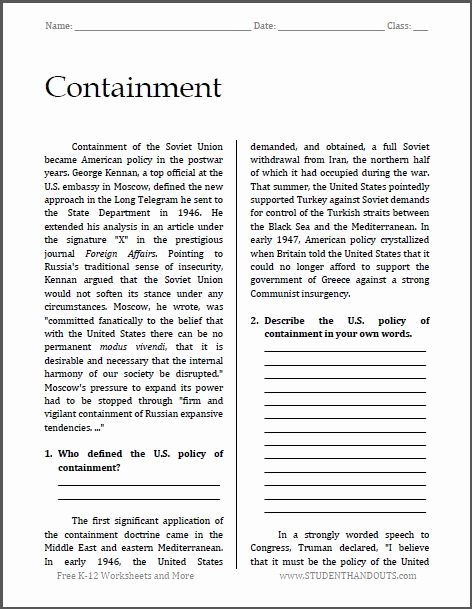 Cold War Reading Comprehension Worksheet Free Containment Cold War Reading with Questions