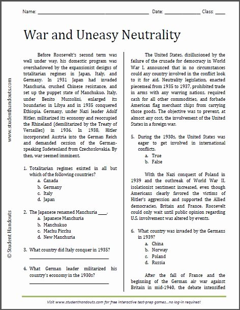 Cold War Reading Comprehension Worksheet Free War and Uneasy Neutrality Reading Worksheet