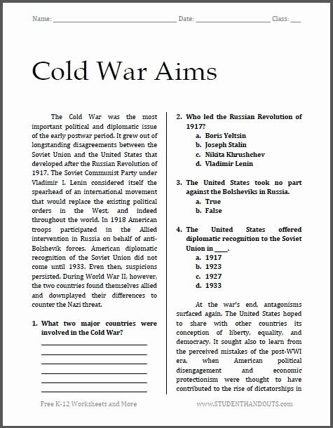 Cold War Reading Comprehension Worksheet Fresh Cold War Reading Prehension Worksheet Pin En social
