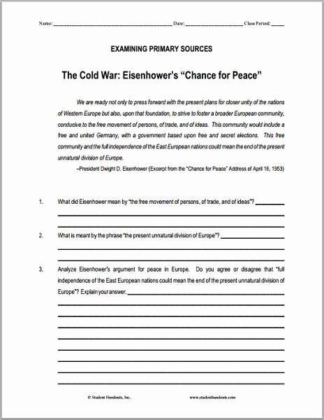 "Cold War Reading Comprehension Worksheet Inspirational Eisenhower S ""chance for Peace"" Dbq Worksheet Free to"