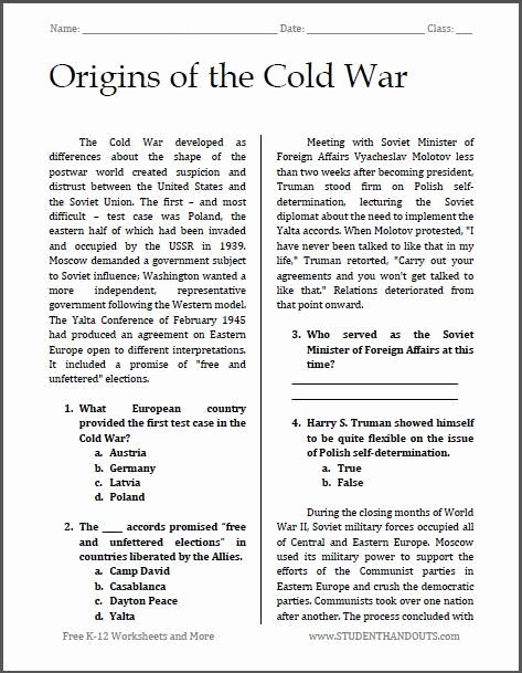 Cold War Reading Comprehension Worksheet Kids Cold War Reading Prehension Worksheet origins the Cold