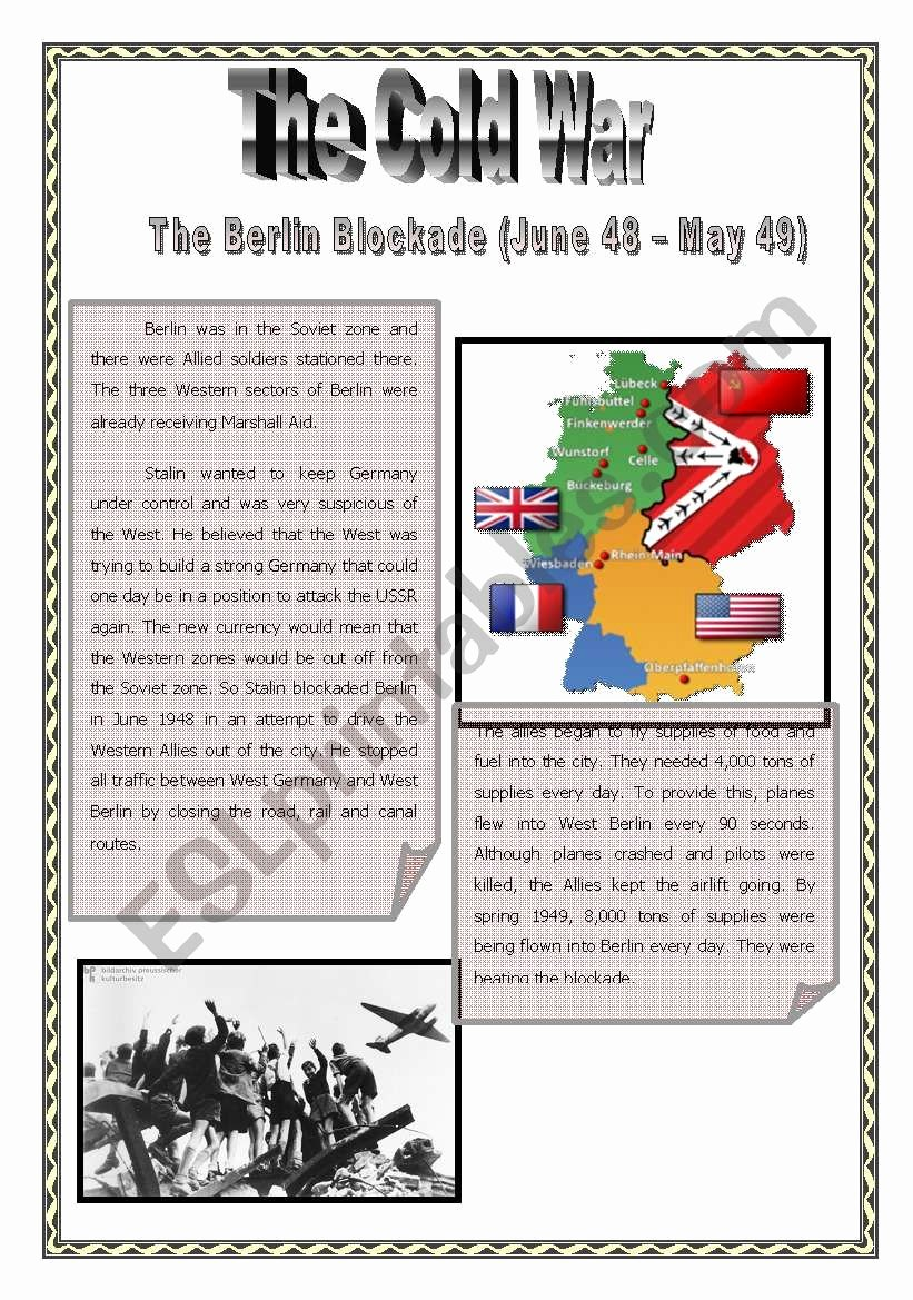 Cold War Reading Comprehension Worksheet top Cold War Epidodes 1 Berlin Blockade Esl Worksheet by