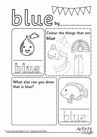 Color Blue Worksheets for Preschool Best Of Blue Colour Worksheet