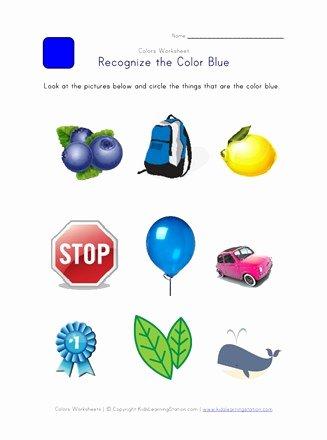 Color Blue Worksheets for Preschool Best Of Recognize the Color Blue Colors Worksheet for Kids