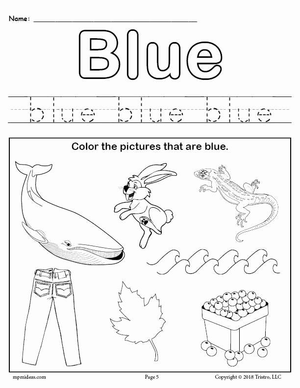 Color Blue Worksheets for Preschool Ideas Free Color Blue Worksheet