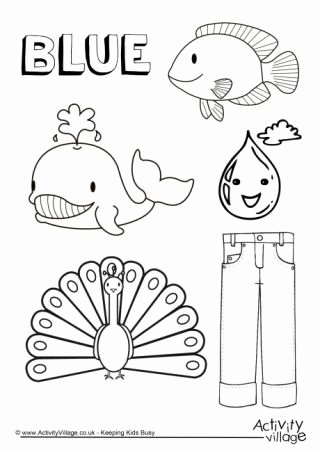 Color Blue Worksheets for Preschool Kids Colour Collection Colouring Pages