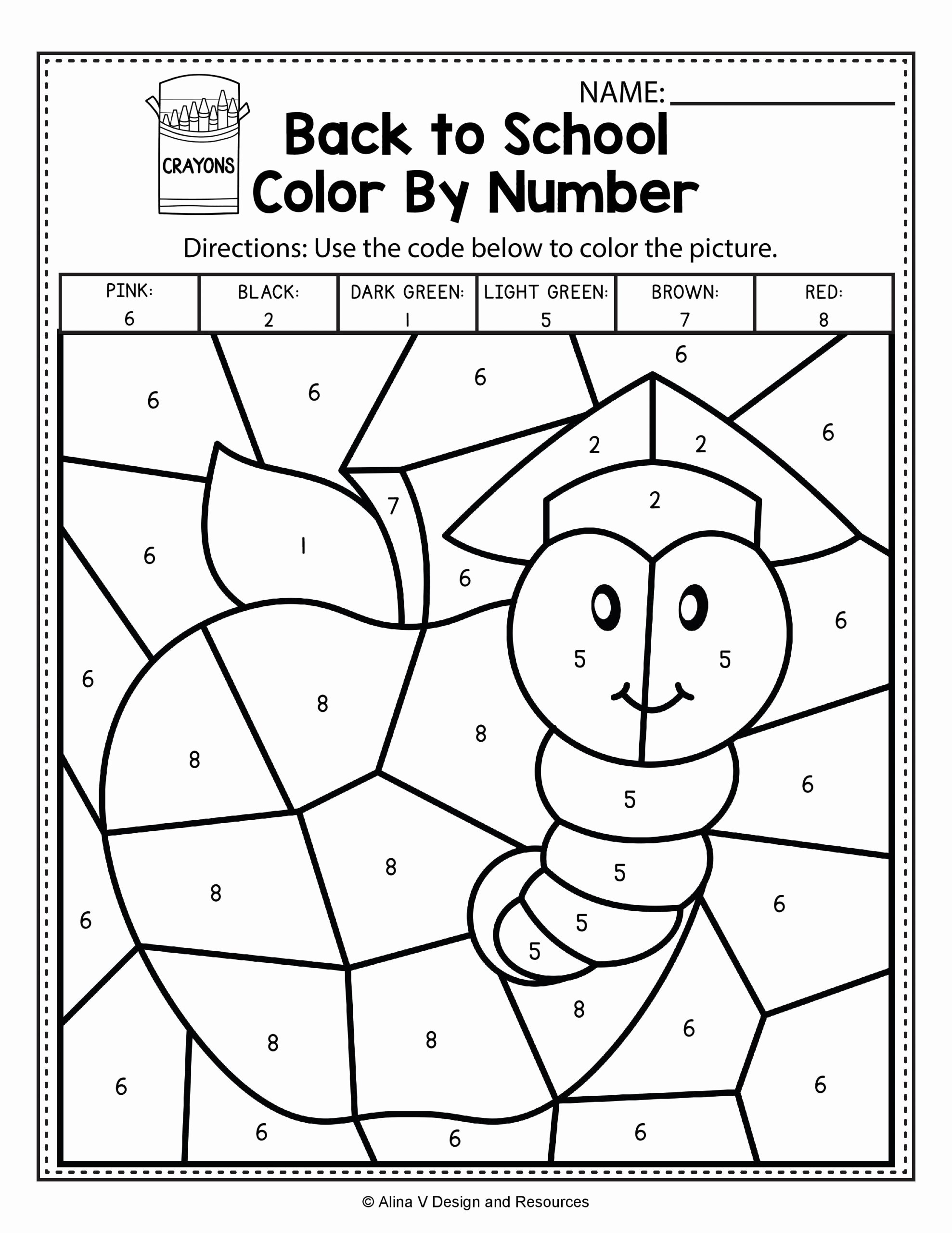 Color by Number Math Worksheets Printable Coloring Sheet Back to School Color by Number Math
