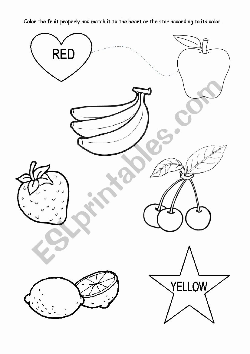 Color Red Worksheets for toddlers Best Of Colours Red and Yellow Kindergarten Esl Worksheet by