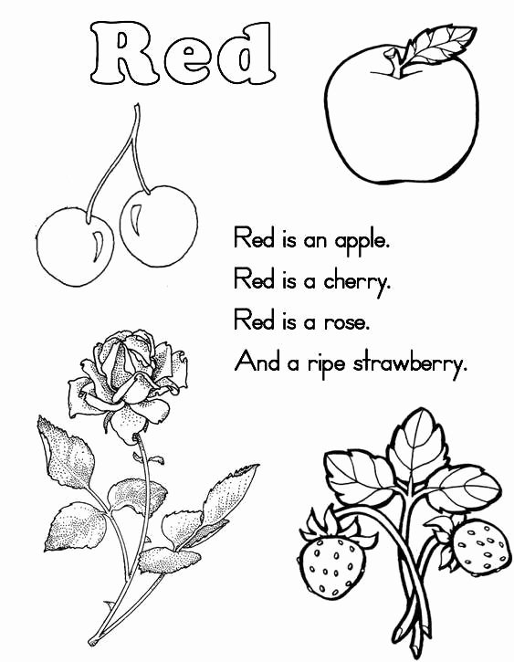 Color Red Worksheets for toddlers Free Color Red Coloring Pages