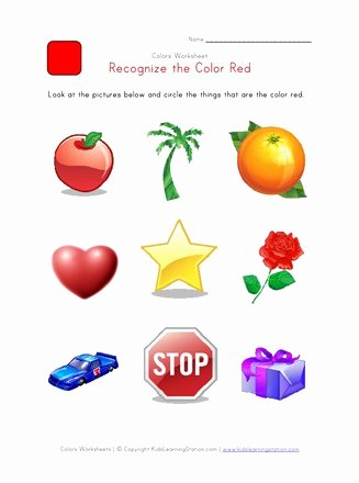 Color Red Worksheets for toddlers Free Recognize the Color Red Colors Worksheet for Kids