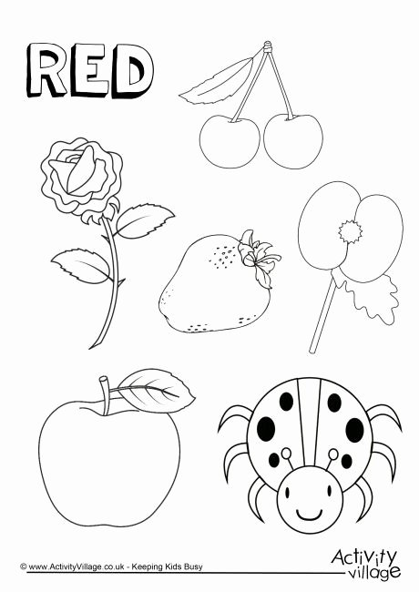 Color Red Worksheets for toddlers Fresh Red Things Colouring Page