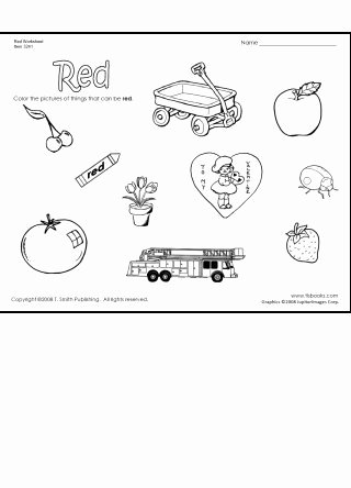 Color Red Worksheets for toddlers Ideas Color Things that are Red Worksheet
