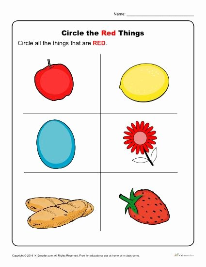 Color Red Worksheets for toddlers New Coloring Pages Red Color Worksheets for Kindergarten
