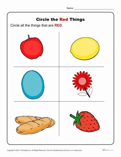 Color Red Worksheets for toddlers New Coloring Pages Red Color Worksheets for Kindergarten
