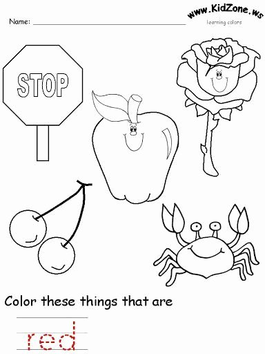Color Red Worksheets for toddlers top Red Color Worksheet