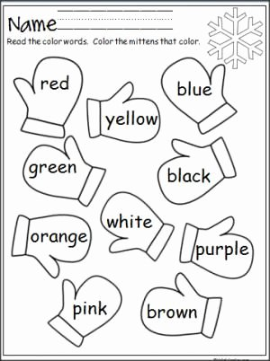 Color Word Worksheets for Kindergarten Fresh Mitten Color Words Madebyteachers