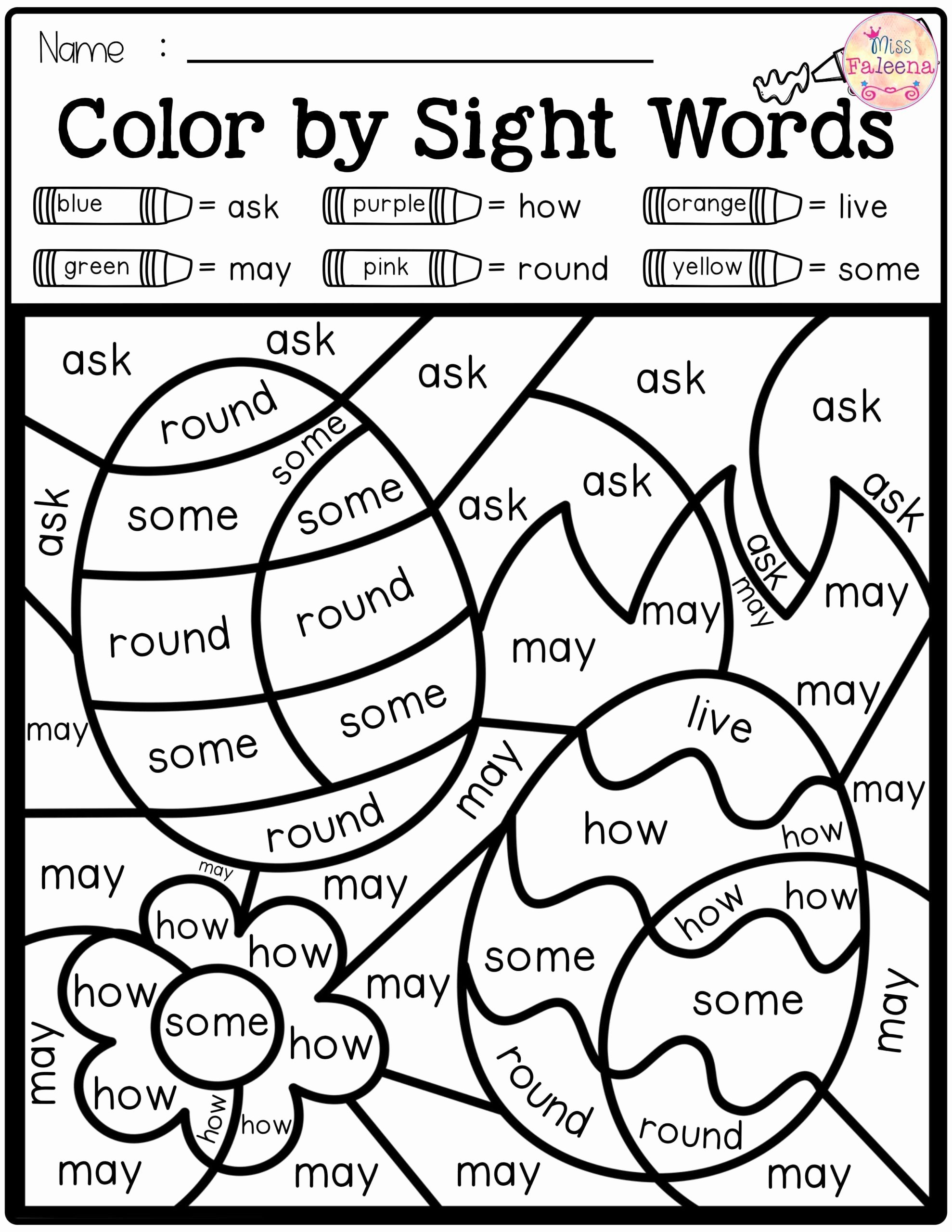 Color Word Worksheets for Kindergarten Ideas Spring Color by Code Sight Words First Grade Worksheets