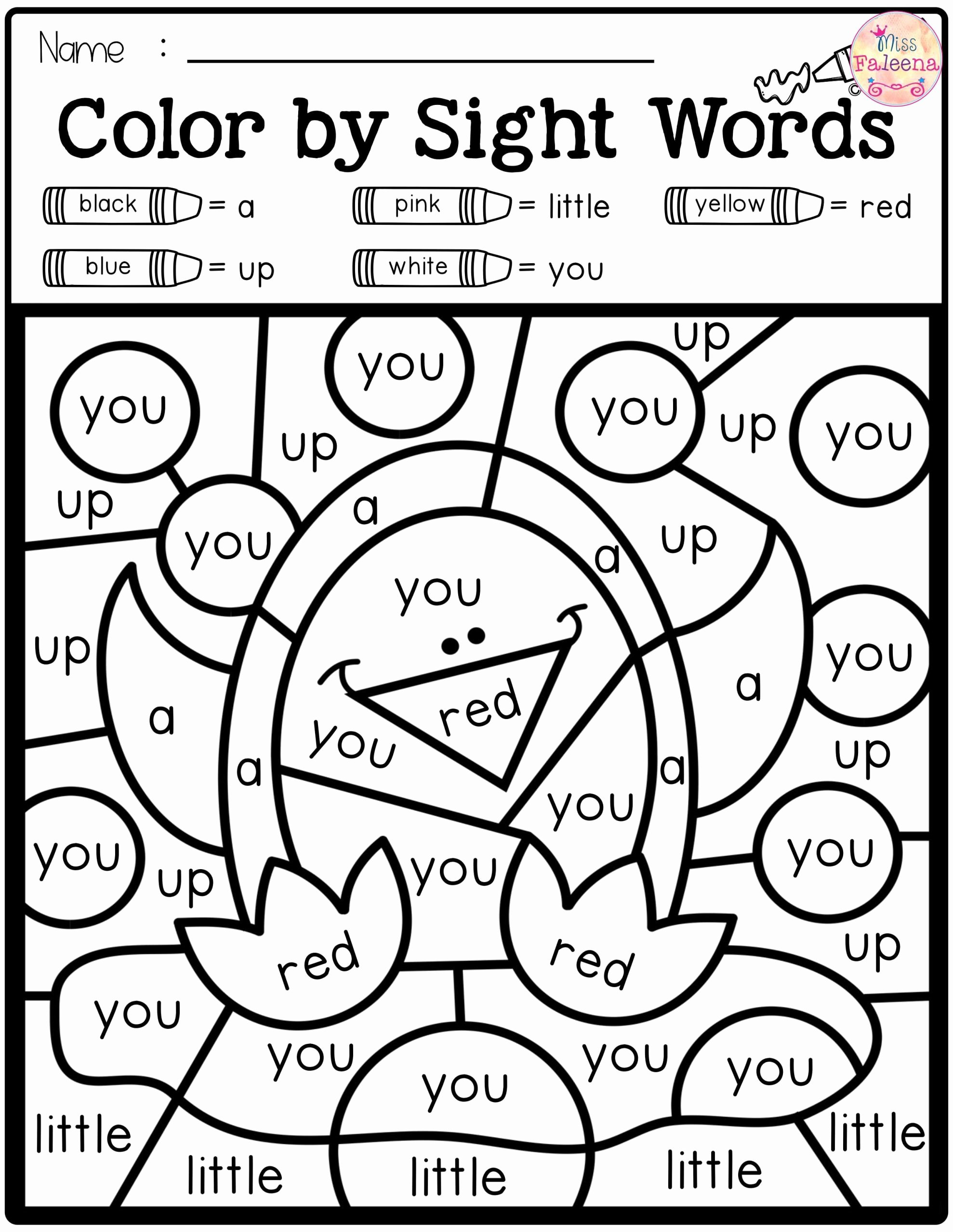 Color Word Worksheets for Kindergarten Inspirational Free Color by Code Sight Words Pre Primer with Word