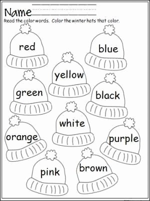 Color Word Worksheets for Kindergarten Printable Free Mitten Color Word Practice Great for Pre K and