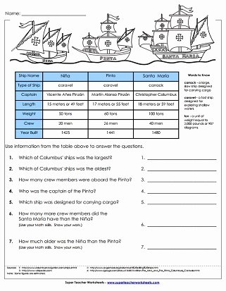 Columbus Day Reading Comprehension Worksheets Free Columbus Day Worksheets