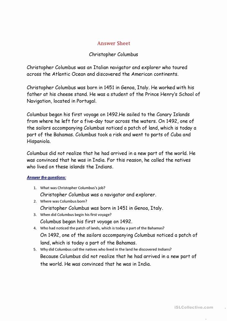 Columbus Day Reading Comprehension Worksheets Printable Christopher Columbus English Esl Worksheets for Distance