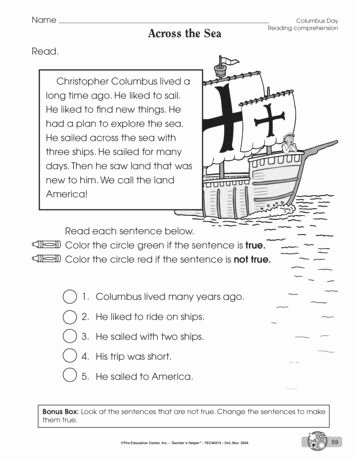 Columbus Day Reading Comprehension Worksheets top Across the Sea Lesson Plans the Mailbox