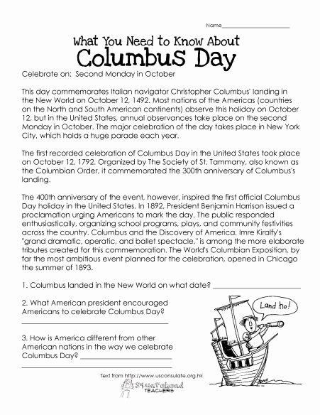 Columbus Day Reading Comprehension Worksheets top Columbus Day Free Worksheet
