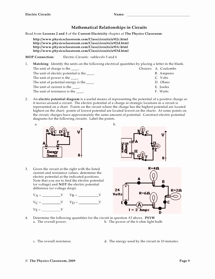 Combination Circuits Worksheet with Answers New Circuit Worksheets