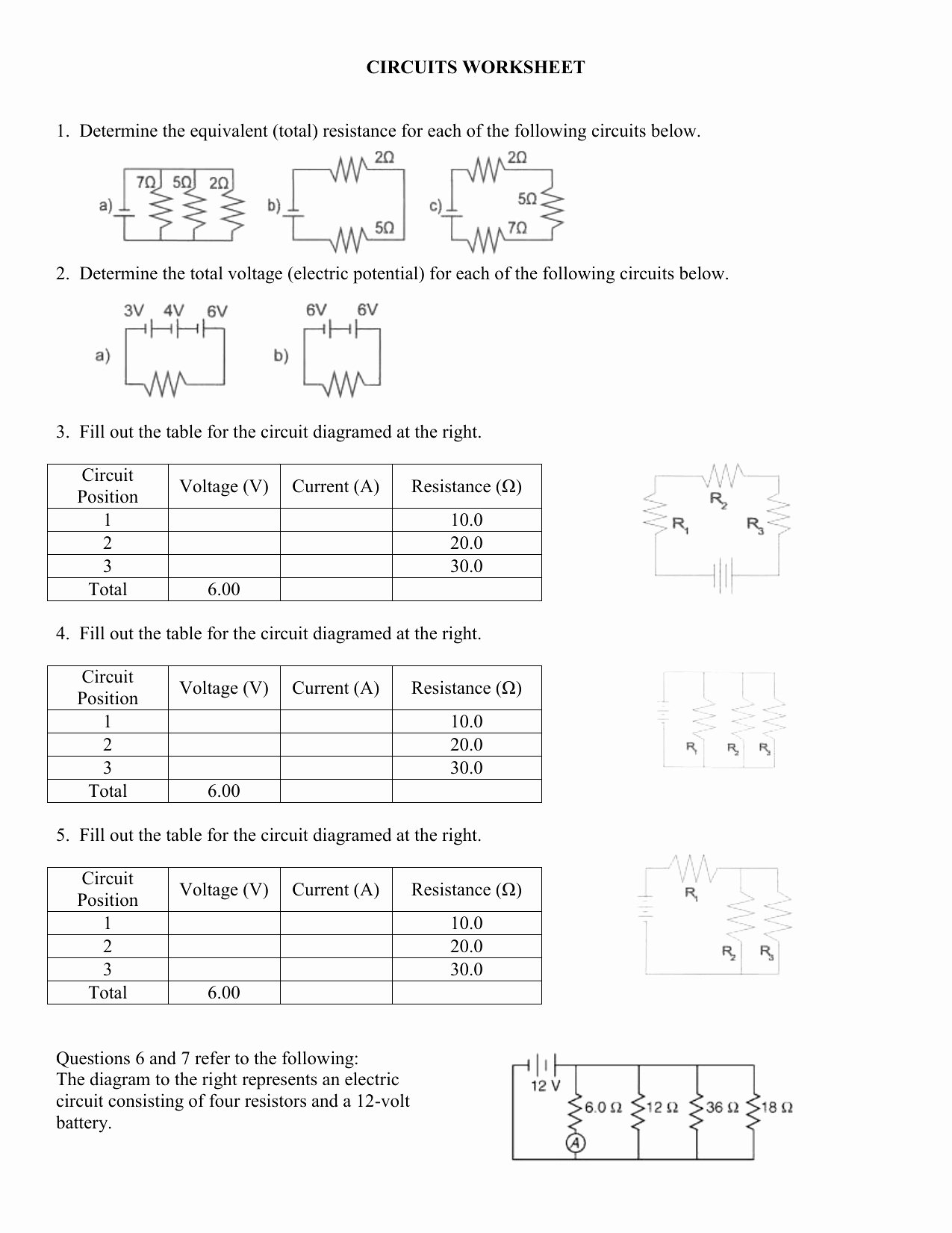 Combination Circuits Worksheet with Answers Printable Series Circuits Worksheets