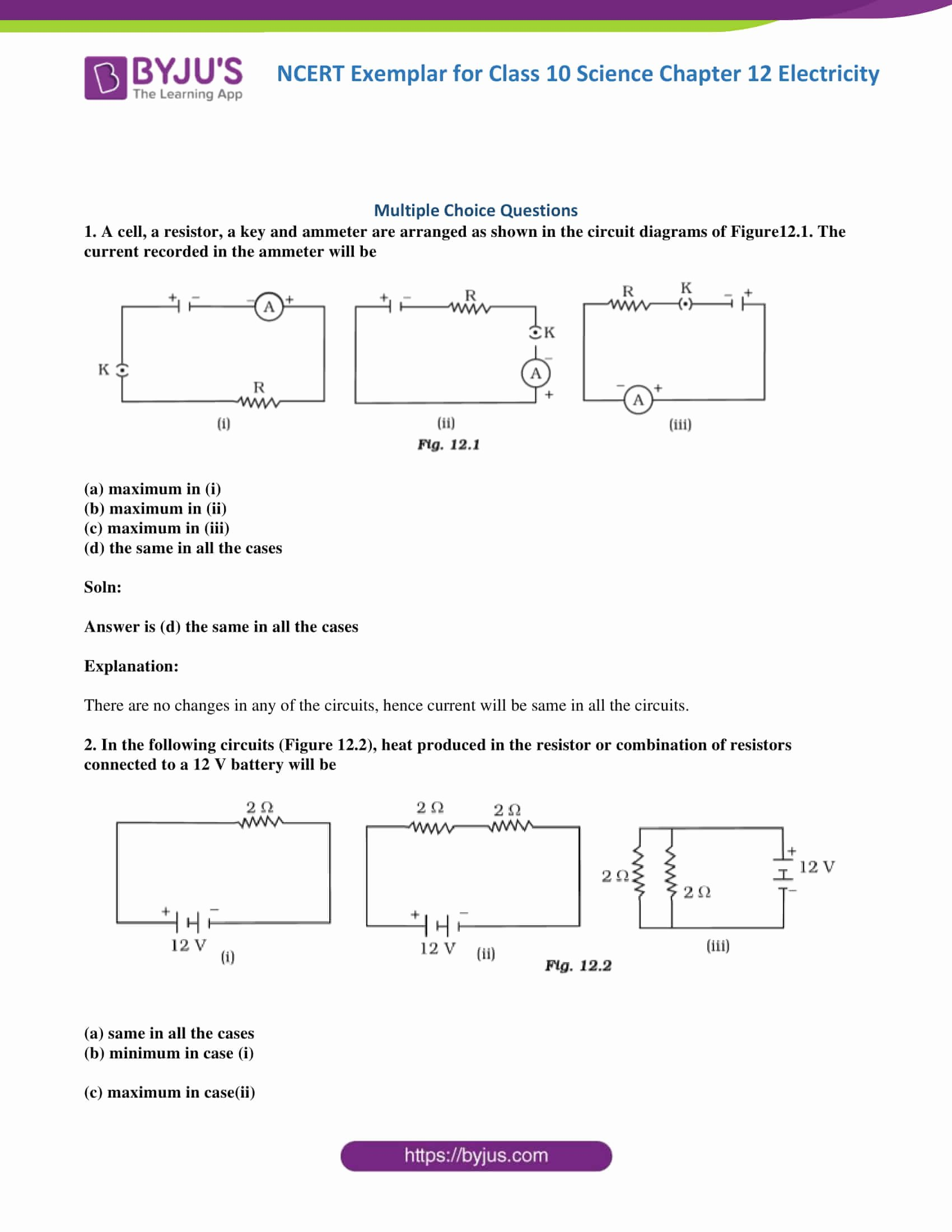 Combination Circuits Worksheet with Answers top Ncert Exemplar Class 10 Science solutions Chapter 12 Get