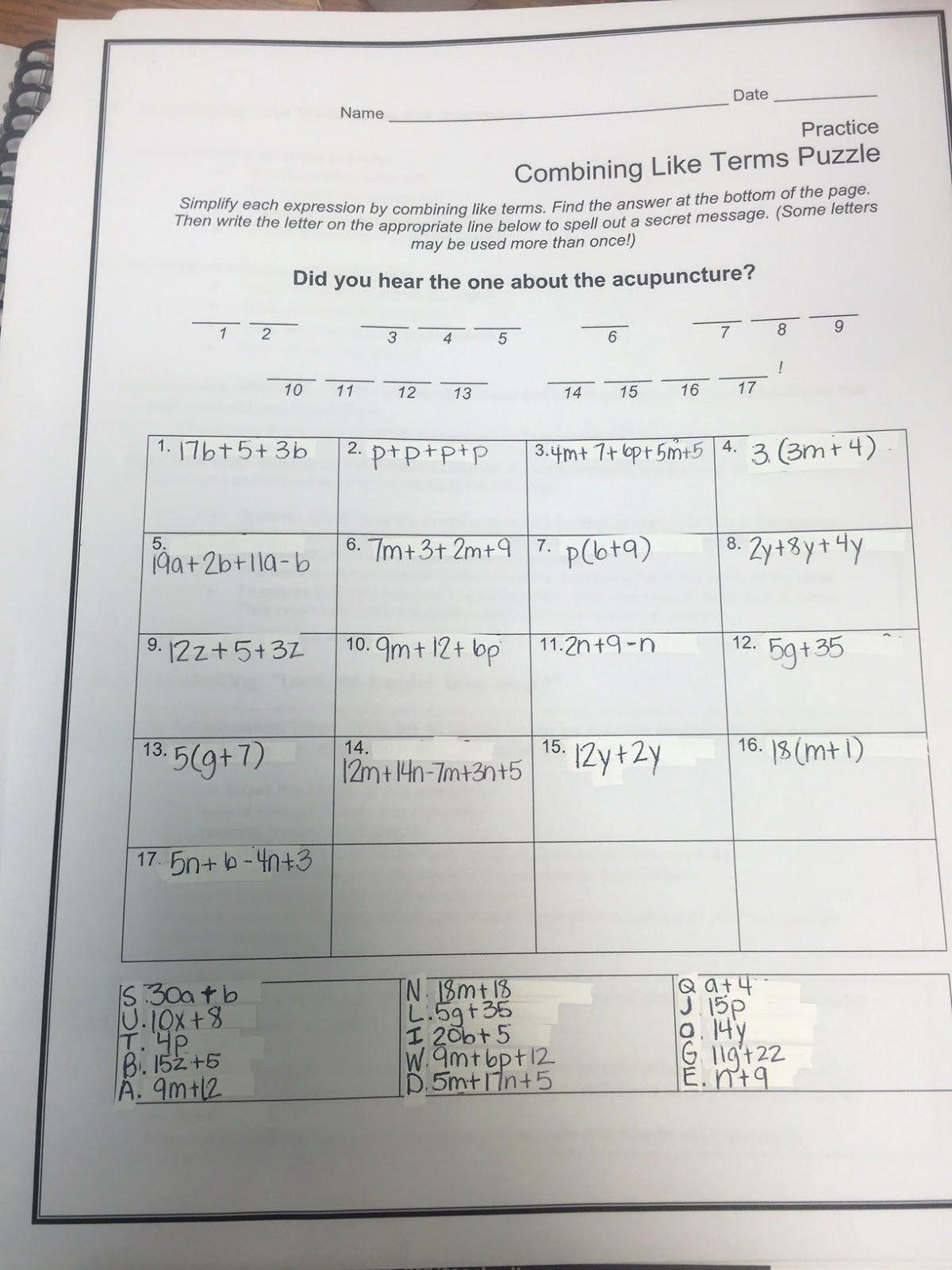 Combining Like Terms Practice Worksheet Best Of Bining Like Terms Coloring Worksheet