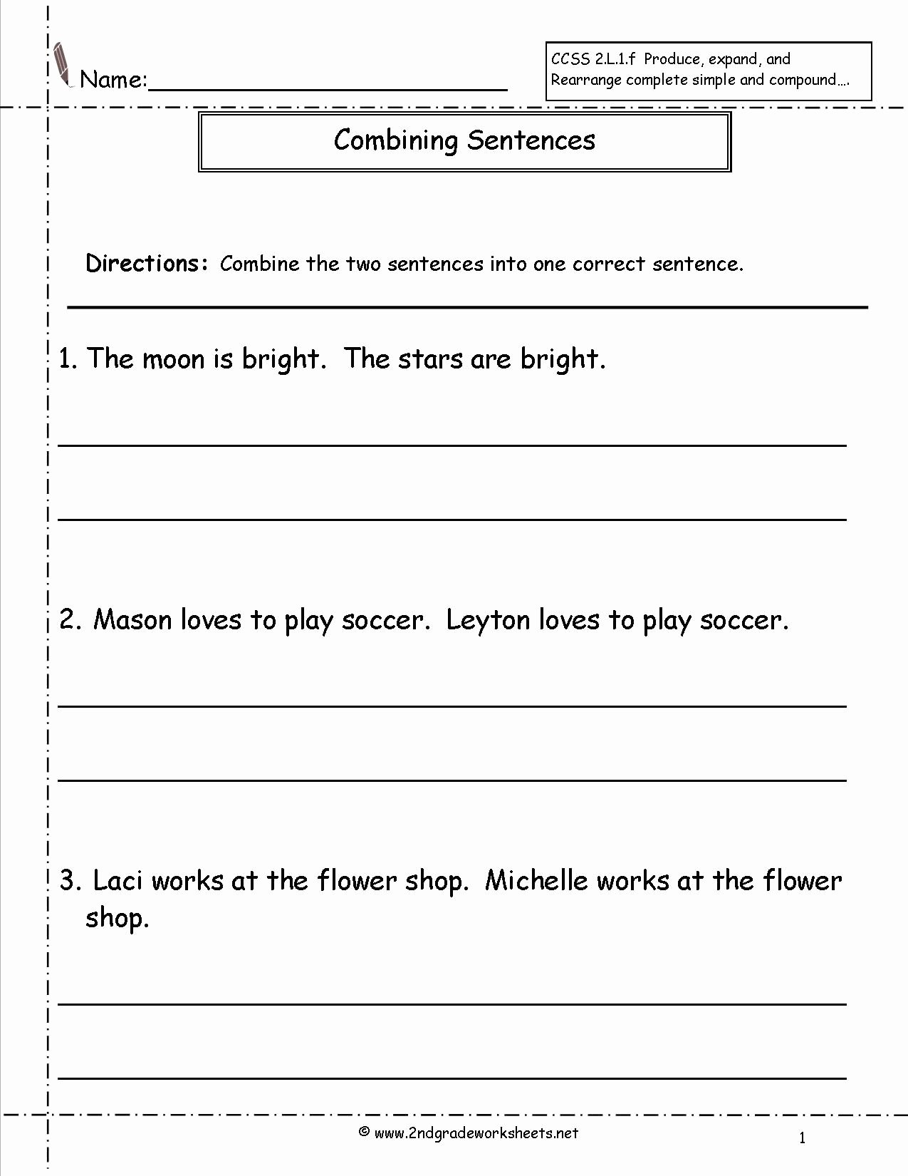 Combining Sentences Worksheet 3rd Grade Fresh Bining Sentences Worksheet