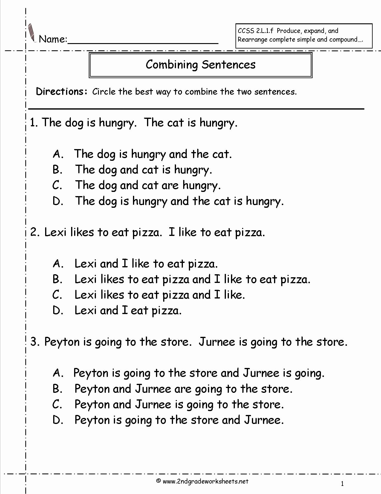 Combining Sentences Worksheet 3rd Grade Ideas Bining Sentences Worksheet