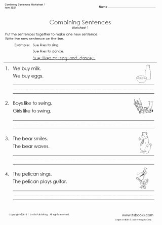 Combining Sentences Worksheet 3rd Grade Printable Bining Sentences Worksheet 1