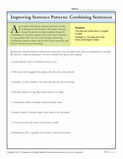 Combining Sentences Worksheet 3rd Grade Printable Sentence Patterns Bining Sentences Writing Worksheets 4th