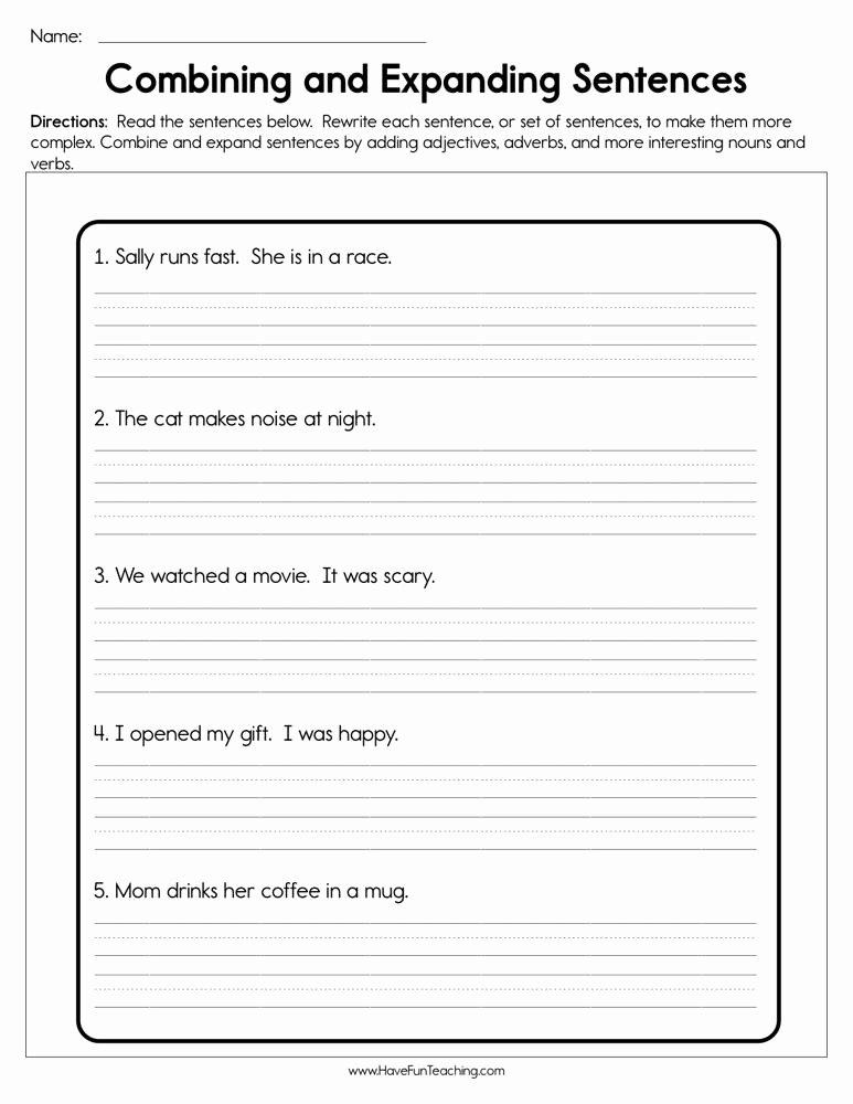 Combining Sentences Worksheet 5th Grade Free Bining and Expanding Sentences Worksheet