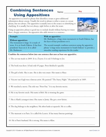 Combining Sentences Worksheet 5th Grade Lovely Bining Sentences with Appositives