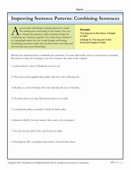 Combining Sentences Worksheet 5th Grade Printable Sentence Patterns Bining Sentences Writing Worksheets 4th
