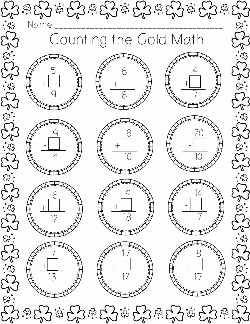 Common Core Kindergarten Math Worksheets Kids St Patrick S Day Printable Pack