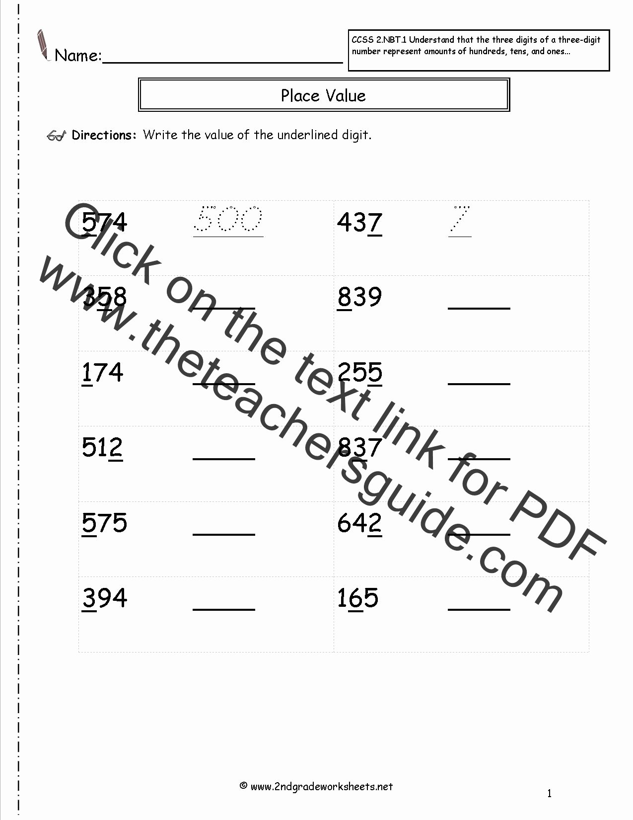 Common Core Worksheets Place Value New Ccss 2 Nbt 1 Worksheets Place Value Worksheets