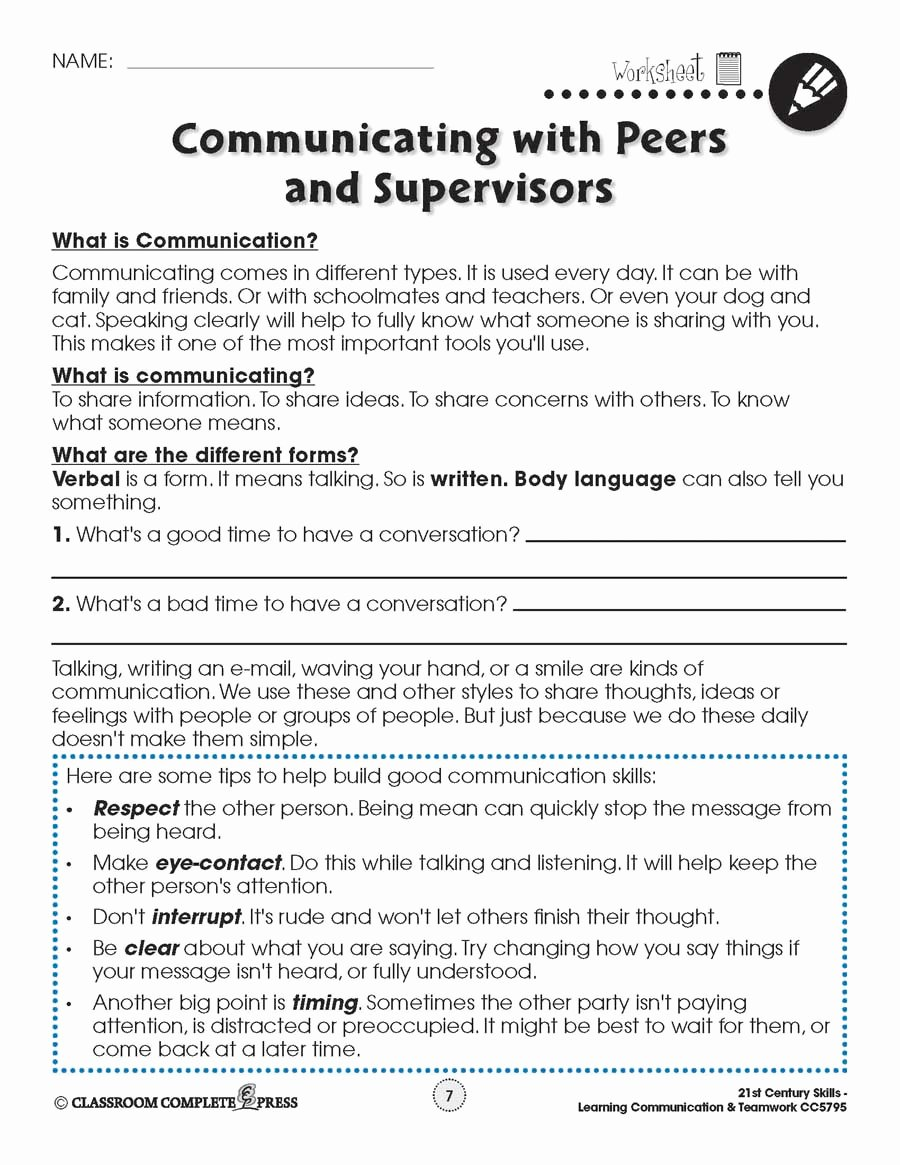 Communication Skills Worksheets for Adults Best Of Learning Munication Teamwork Building Skills Worksheets