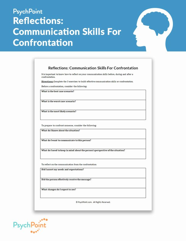Communication Skills Worksheets for Adults Best Of Reflections Munication Skills for Confrontation