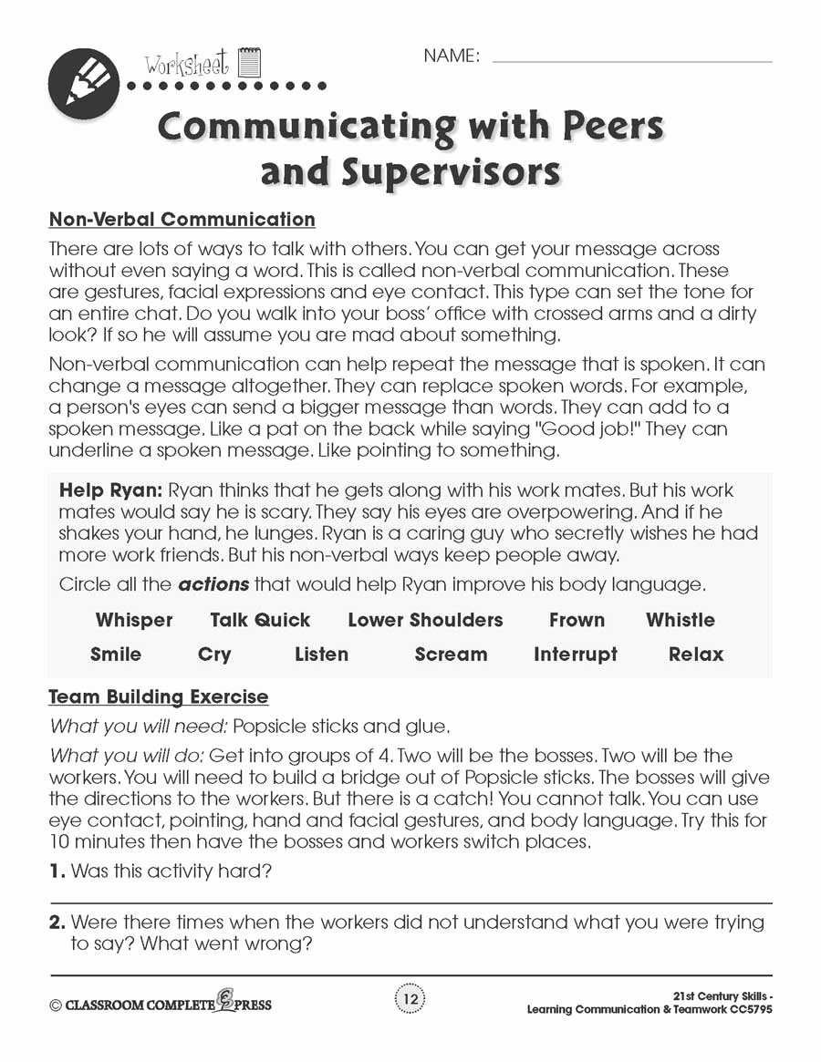 Communication Skills Worksheets for Adults Ideas Learning Munication & Teamwork Building Munication